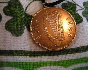 1968 Penny Irish Coin Birth Year Necklace/Irish Copper Penny Ireland Jewelry
