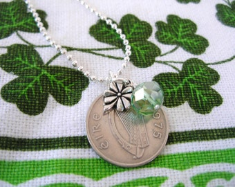 1975 IRISH Coin Charm Necklace-1975 SILVER Irish 5pence Coin Ireland Necklace