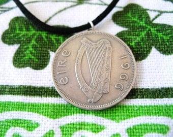1966 Irish Coin Birth Year Necklace/Floirin Ireland Jewelry