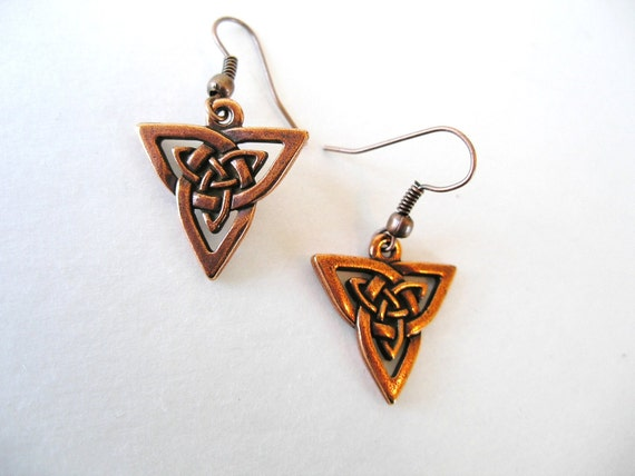Copper  IRISH Trinity Knot Celtic Triquetra Knot Earrings