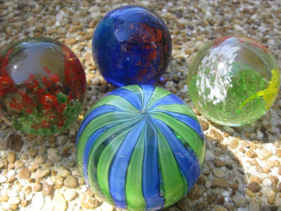 Instant art glass paperweight collection...4 handmade solid glass paperweights ..beautiful colored glass with contolled bubbles