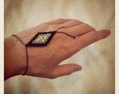 Navajo Diamond Woven Beaded Slave Bracelet - Black Multi