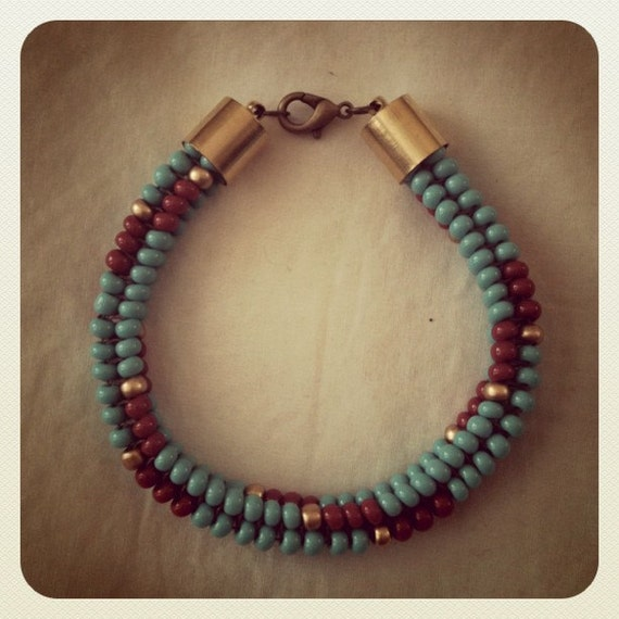 Native American Turquoise and Red 'Aztec' Woven Pattern Beadwork Bracelet