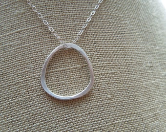 organic sterling silver pendant, simple, modern, classic, circle, minimal, matte, everyday, bridesmaid, wedding, bridal, N103