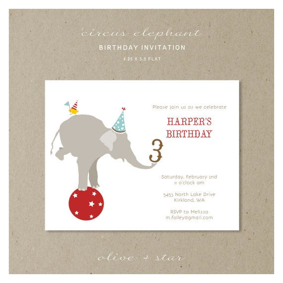carnival circus elephant birthday invitation set  :  RESERVED LISTING lindsay