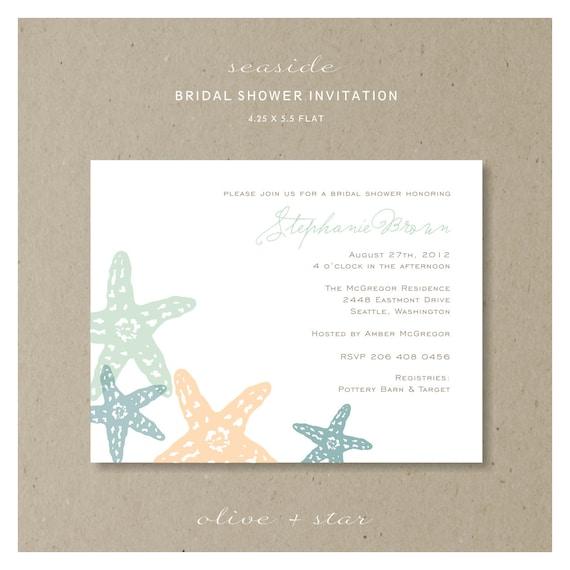 seaside bridal shower invitation set  :  RESERVED LISTING tiffany