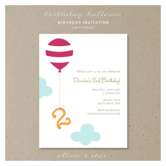 birthday balloon : birthday invitation set