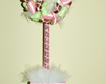 Pink, Green and Giraffe Ribbon Topiary