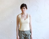 Vintage tank - knit cotton - cream - lacing detail - small - medium