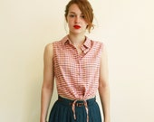 SALE  Cropped check shirt - sleeveless - collared - pink - red - orange - small, medium