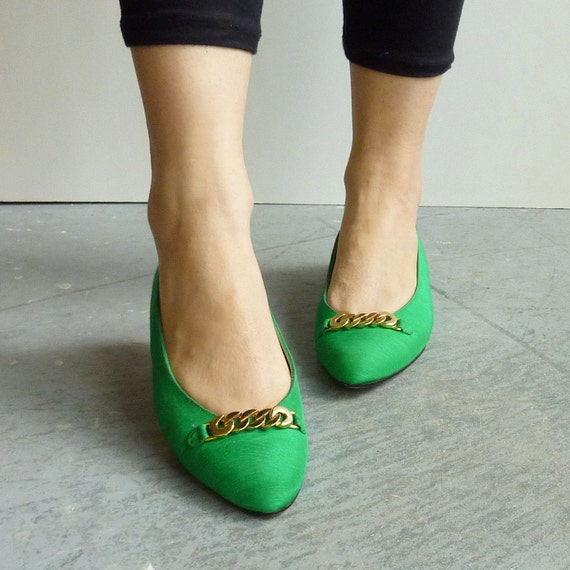 Vintage kelly green silk slip on ballerina flats - size 6
