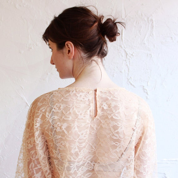 Vintage pink lace top - bat wing blouse - small - medium - large