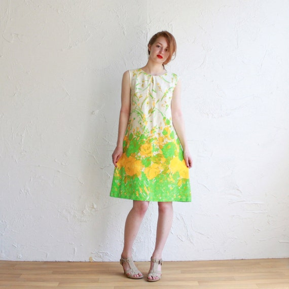 SALE  60s shift dress - acid yellow and green floral  - medium - large