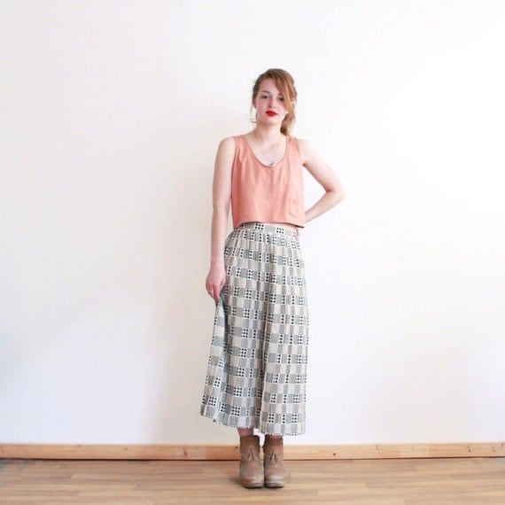 Vintage houndstooth maxi skirt - black and white - summer - small