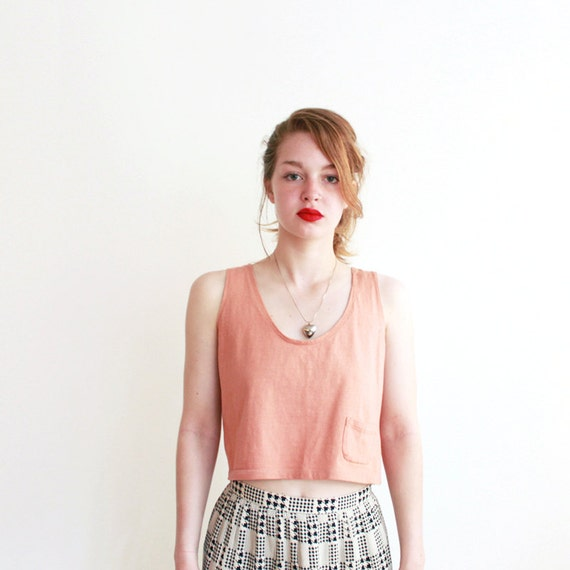 Cropped peach tank - 80s Au Coton - size small
