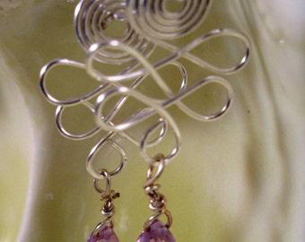 Interlocking Silver and Amethyst Drop Earrings