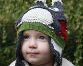 6-12 Months. HOOTHAT in Gray, Red, Green and Gold. Custom, Upcycled Owl Hat with Earflaps.