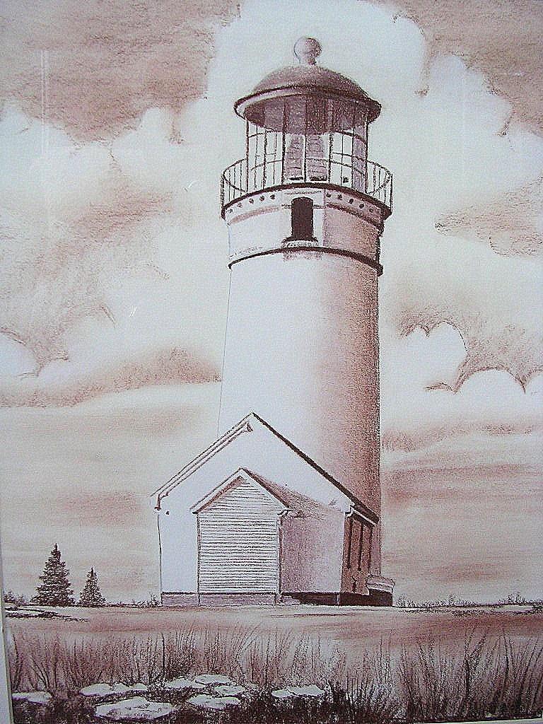 Lighthouse Sepia Original Pastel Drawing