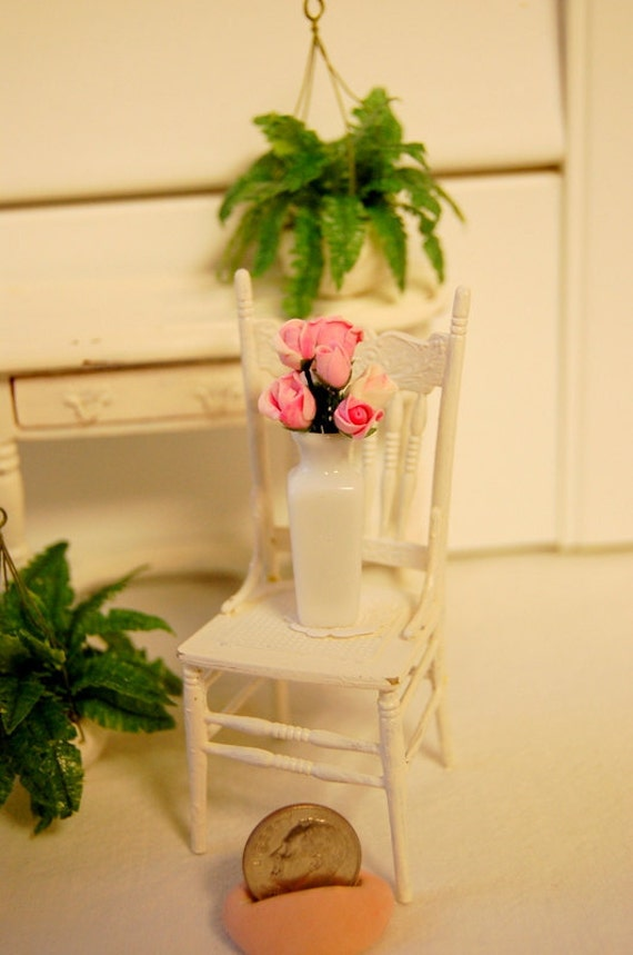 Shabby Chic Dollhouse Miniature Pink Rose Floral Design