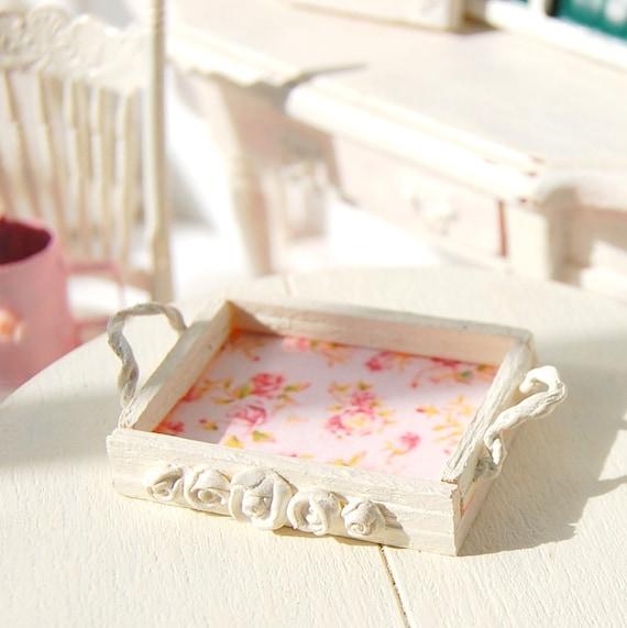 Dollhouse Miniature Shabby Rose Chic Bed Tray