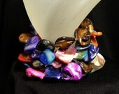 Set of 6 Multi Colored Oyster Shell Bracelets Free Shipping in U.S.A.