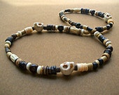 Men's Skull and Garnet Beaded Necklace