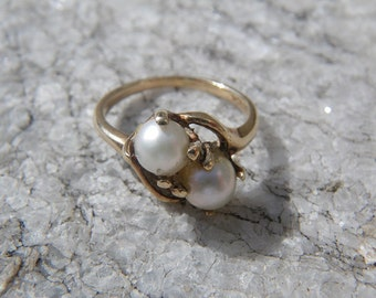 Vintage double real pearl ring - 10k gold