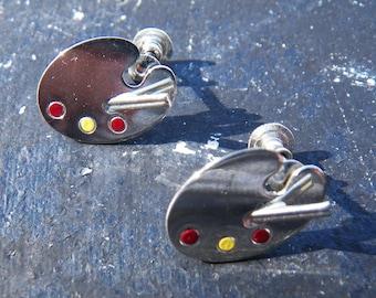 Artist Palette and Brushes enamel earrings - Vintage Beau Sterling 1950- 1960s - painter