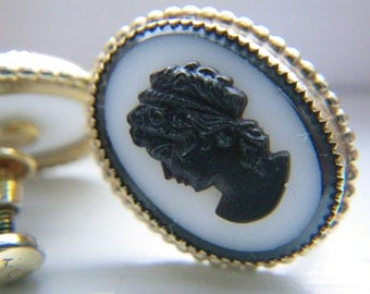 Cameo earrings - vintage - 12k gold filled with black and white cameo  PRICE REDUCED.