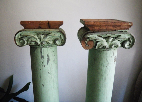 RESERVED BELLA BORDELLO Victorian carved Ionic columns- architectural salvage