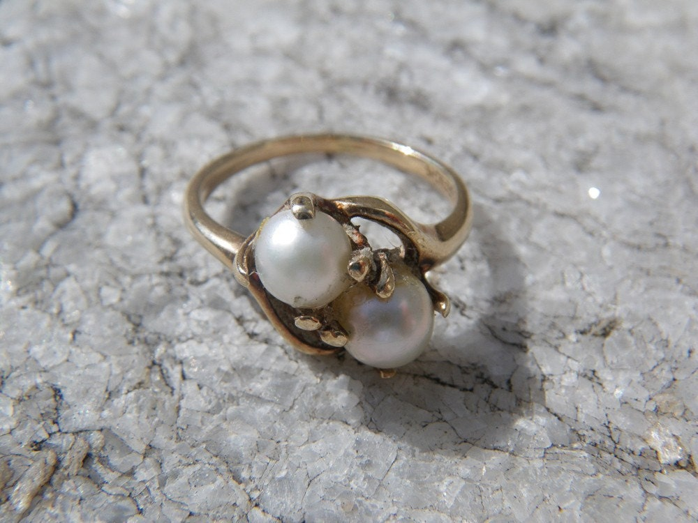 Vintage Double Real Pearl Ring 10k Gold