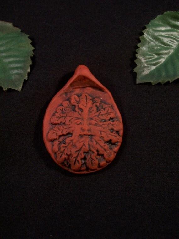 Handmade- Nature's Greenman Polymer Clay Pendant - Terra Cotta Color