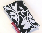 Tissue Pouch- Travel Tissue Case in Black and White Damask