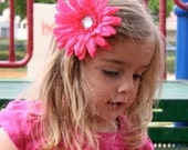 Perfect Hot Pink Daisy Hair Flower Headband for Girls and Women with Crystal Center