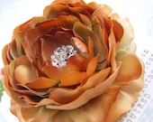 Beautiful AUTUMN ROSE Pumpkin Burnt Orange Hair Flower Clip for Girls and Women with Multi Swarovski Crystal Center -Perfect Portrait Accessory