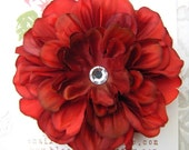 CHERRY RED Hair Flower Clip for Girls and Women with Crystal Center