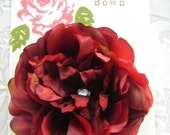 Classic Antique Red Hair Flower Clip for Girls and Women with  Crystal Center -Perfect Portrait Accessory
