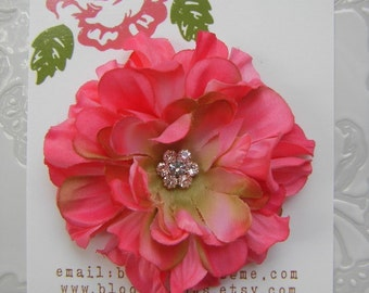 Hot Pink Flower Clip - Zinnia for Girls and Women with Rhinestone Center