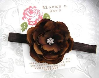 Brown baby headband, flower baby headband, CHOCOLATE BROWN FLOWER Headband for Newborn, Baby, Infant, Toddler & Girls, flower girl headband