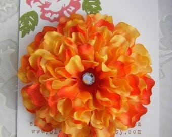 VIBRANT ORANGE  Zinnia Flower Hair Clip with Crystal Center for Girls and Women