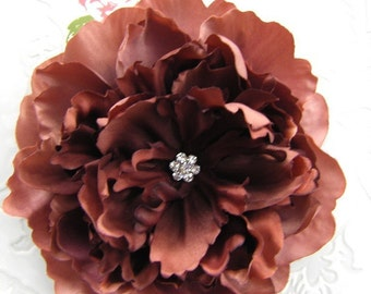 Gorgeous COPPER BROWN PEONY Hair Flower Clip for Girls and Women with Multi Swarovski Crystal Center