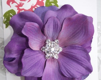 PURPLE Flower Hair Clip - Anemone - for girls or women with swarovski crystal center