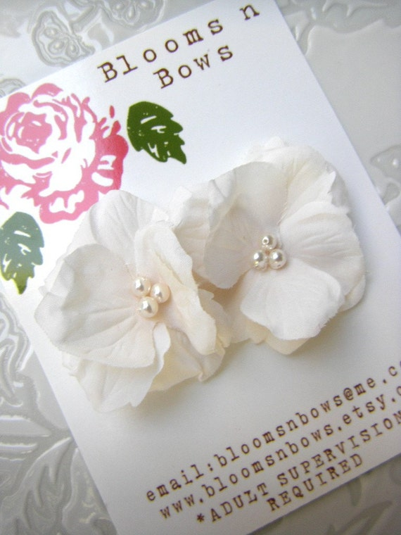 Ivory Hydrangea Flower Clip OR Hair Pins with Swarovski Pearl Centers