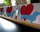 Dachshund Fridge Magnet Set I Heart Doxies Heavy Duty Magnets 2 x 3