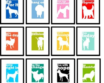Silhouette Dog Print Wall Decor You Choose Dog Silhouette, Text and Background Color for your Dog Print