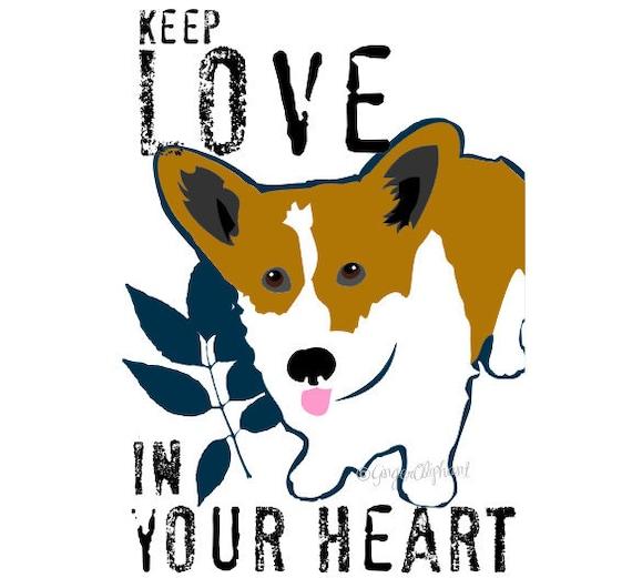 Welsh Corgi Love Dog Art Print Wall Decor