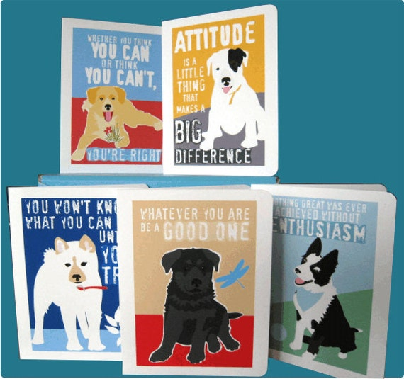 Motivational Greeting Card Set for Children Featuring Puppies 5 Card Set Paper Goods Stationery