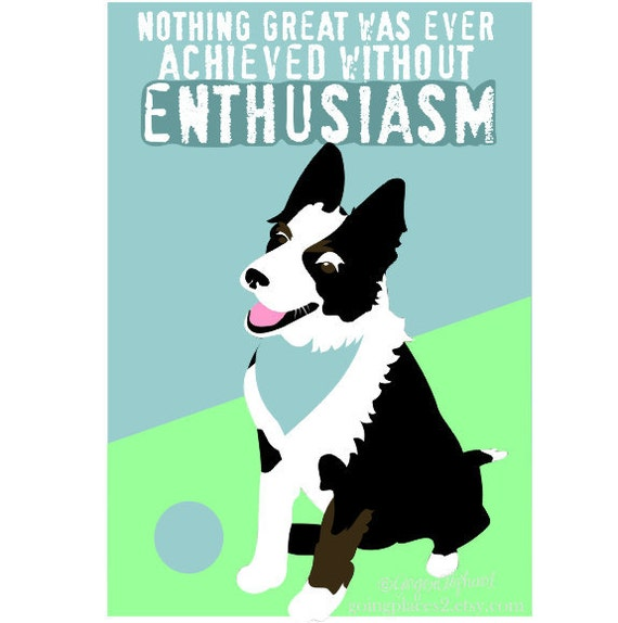 Classroom Art Childrens Art Print Border Collie Puppy Inspirational Dog Art Print for Kids