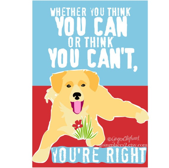 Classroom Art Childrens Wall Art Golden Retriever Puppy Motivational for Children matted