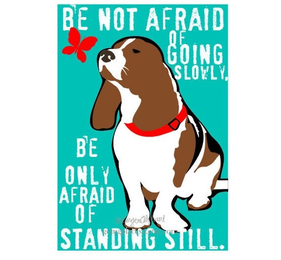 Basset Hound Art Dog Print Wall Decor Chinese Proverb